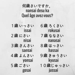 comment dire l'âge pour se présenter en japonais